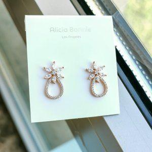 Alicia Bonnie rose gold pave flower hoop earrings